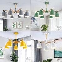 Lustre de teto com 3/5/6/8 luzes  para sala de estar  iluminação para macaron  lâmpadas nórdicas  em madeira lisa  artesanato lâmpadas