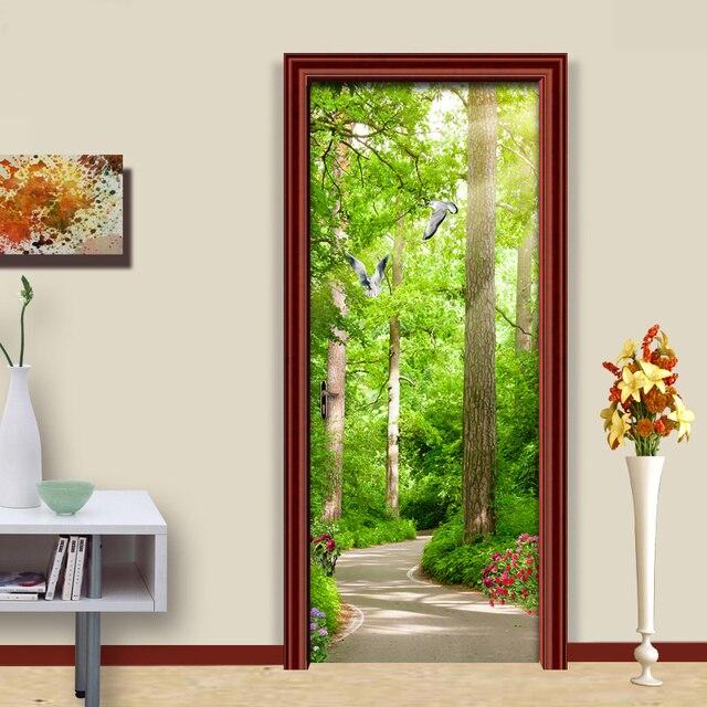 Autocollant de porte en PVC auto-adhésif   Autocollant de porte créatif, forêt, soleil, petite route, pour mur de porte de salon, chambre à coucher