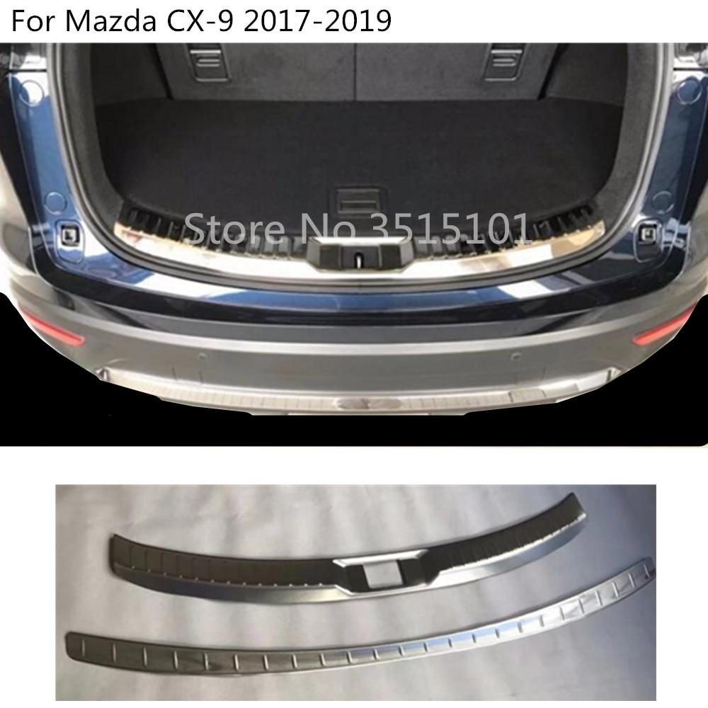 Auto Edelstahl inneren außerhalb Hinten stoßstange externe trim platte inneren stamm pedal Für Mazda CX 9 CX9 2017 2018 2019