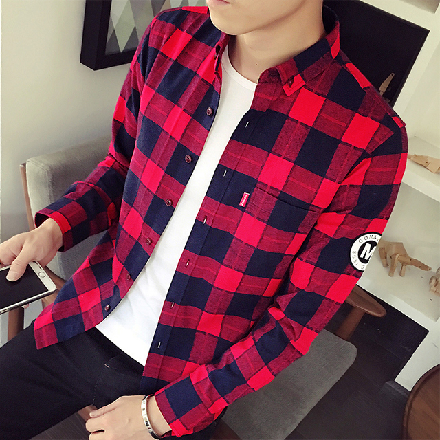 13b91330a6 free shipping chemise homme spring Autumn Plaid Shirt male long sleeve  camisa masculina Korean slim mens