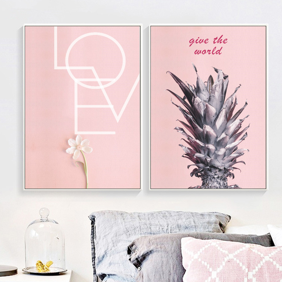 Pink Pineapple Flower Motivational Quote Wall Art Canvas Painting Nordic Posters And Prints Wall Pictures Living Room Unframed in Painting Calligraphy from Home Garden