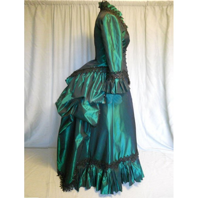 4097bf20a5d4 Green Cotton Long Sleeves Gothic Victorian Banquet Bustle Dress 18th  Century Lace Ruffles Marie Antoinette Ball Gowns For 2018