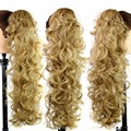 "Color# #22 31"" Long Claw Clip Drawstring Ponytail Fake Hair Extensions False Hair Horse Tress Curly Synthetic Hairpieces"