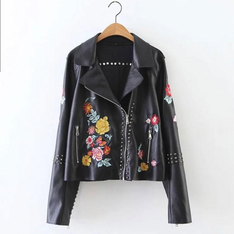 Cuero Short Moto Jackets Pu Floral   Leather   Jacket Embroidery Rivet Long Sleeve Turn Down Oblique Zipper Woman Bikers Black Coat