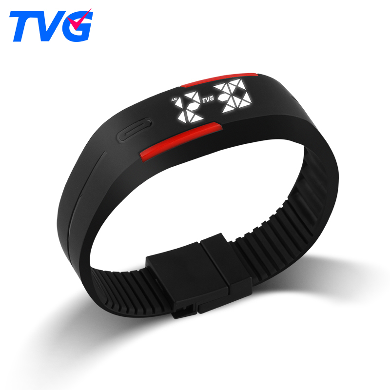 New TVG Led Display Sport bracelet Watches Silicone Strap Led Digital Wrist Watches For Children Boys
