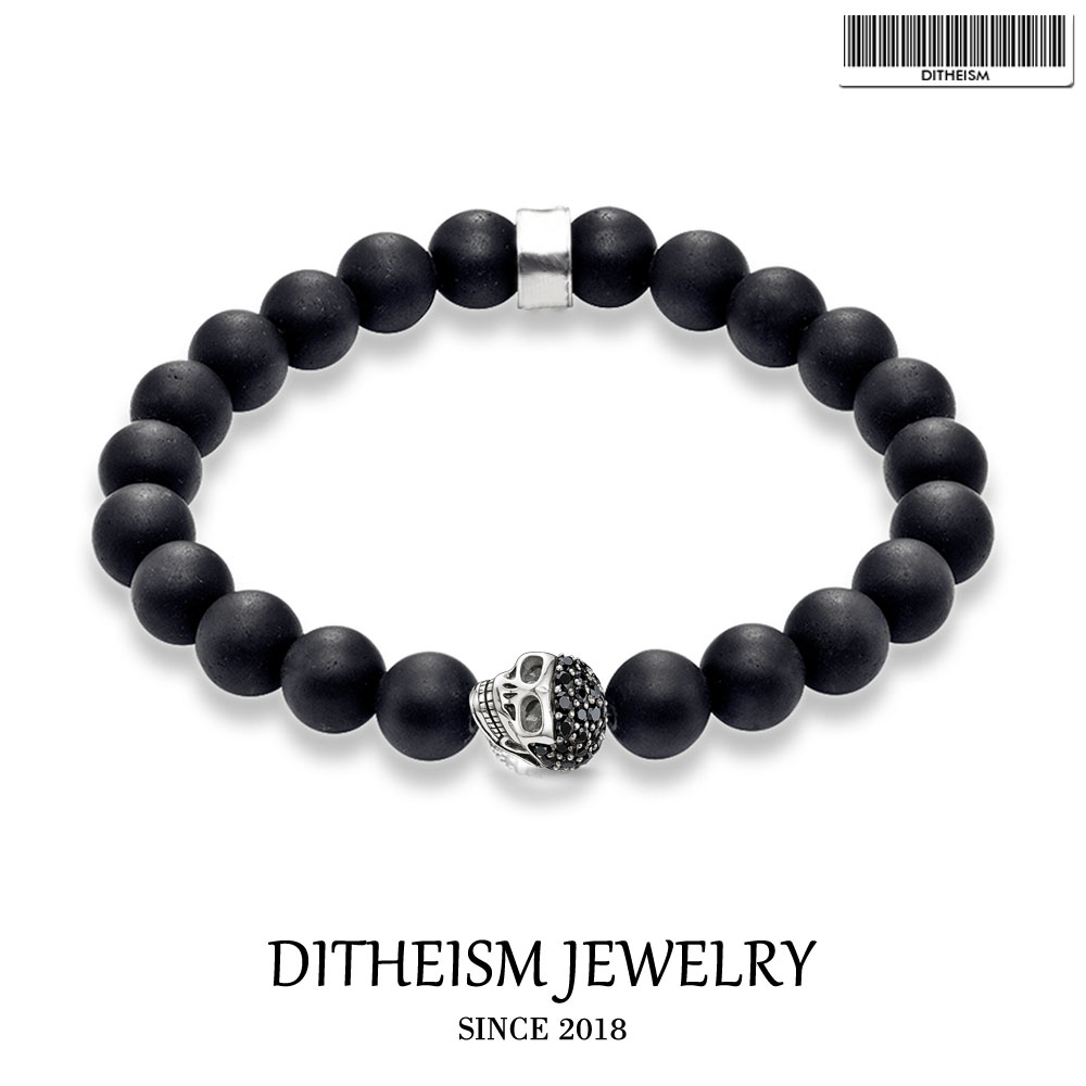 Strand Bracelets Skull Pave 10mm Obsidian Beads, 2018 New Blackened Silver Fashion Jewelry Classic Gift for Men Boy Women Girls