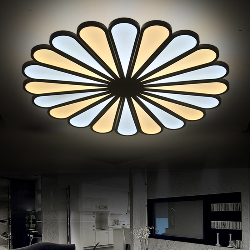 LED ceiling lamp living room flower type restaurant warm personality modern color round bedroom lamps and lanterns noosion modern led ceiling lamp for bedroom room black and white color with crystal plafon techo iluminacion lustre de plafond