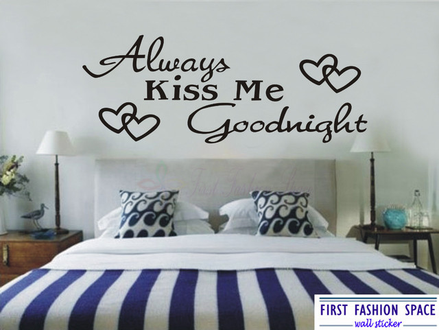 Removable Always Kiss Me Goodnight Wall Sticker Quotes Vinyl Decor Decals Stickers Art Large