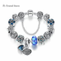 Heart Beads Women Bracelets Blue Crystal Charm Bracelet Diy Bracelets Bangles Jewelry For Female PA1907