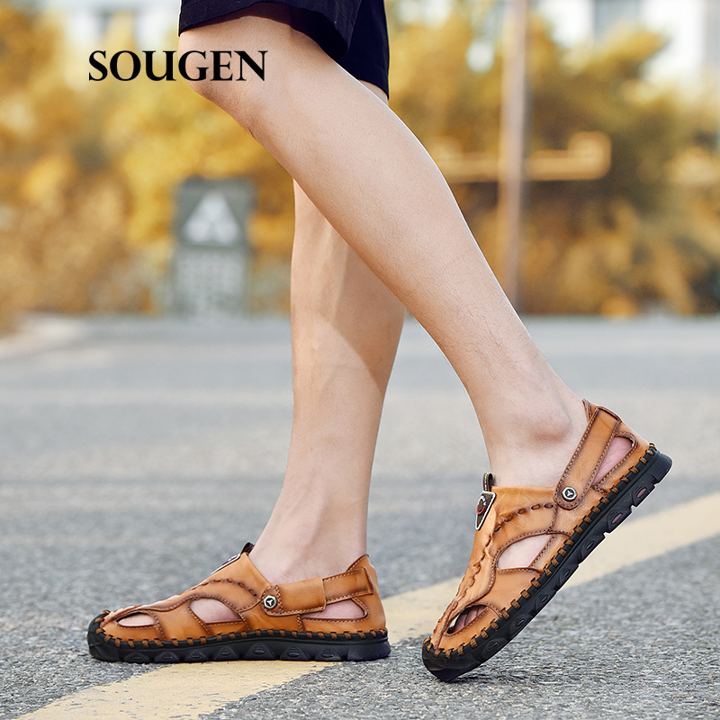 Ernst Size38-47 Herren Sandalen Leder Für Männer Komfortable Schuh Sommer Männlichen Schuhe Erwachsene Chaussure Homme Slip Schuhe Turnschuhe Plattform