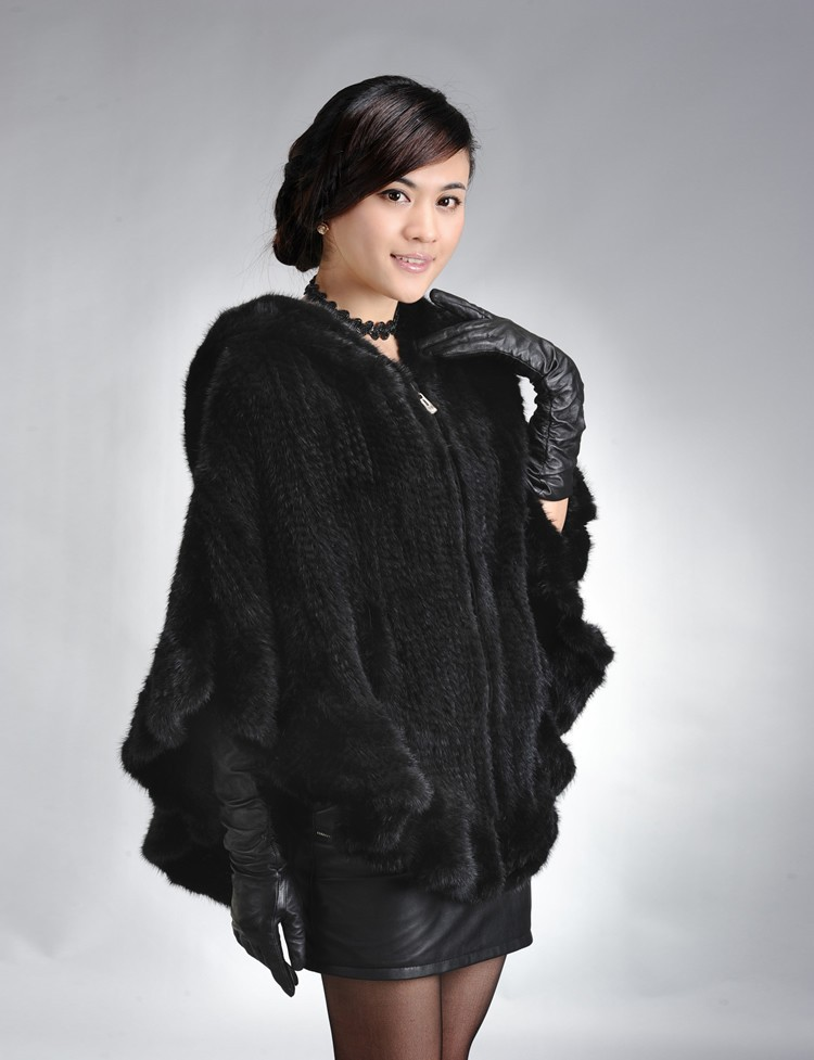 Factory Direct Genuine Mink Fur Shawl Women Natural Mink Fur Poncho With Hood Winter Knitted Mink Fur Jacket DL6191 (3)