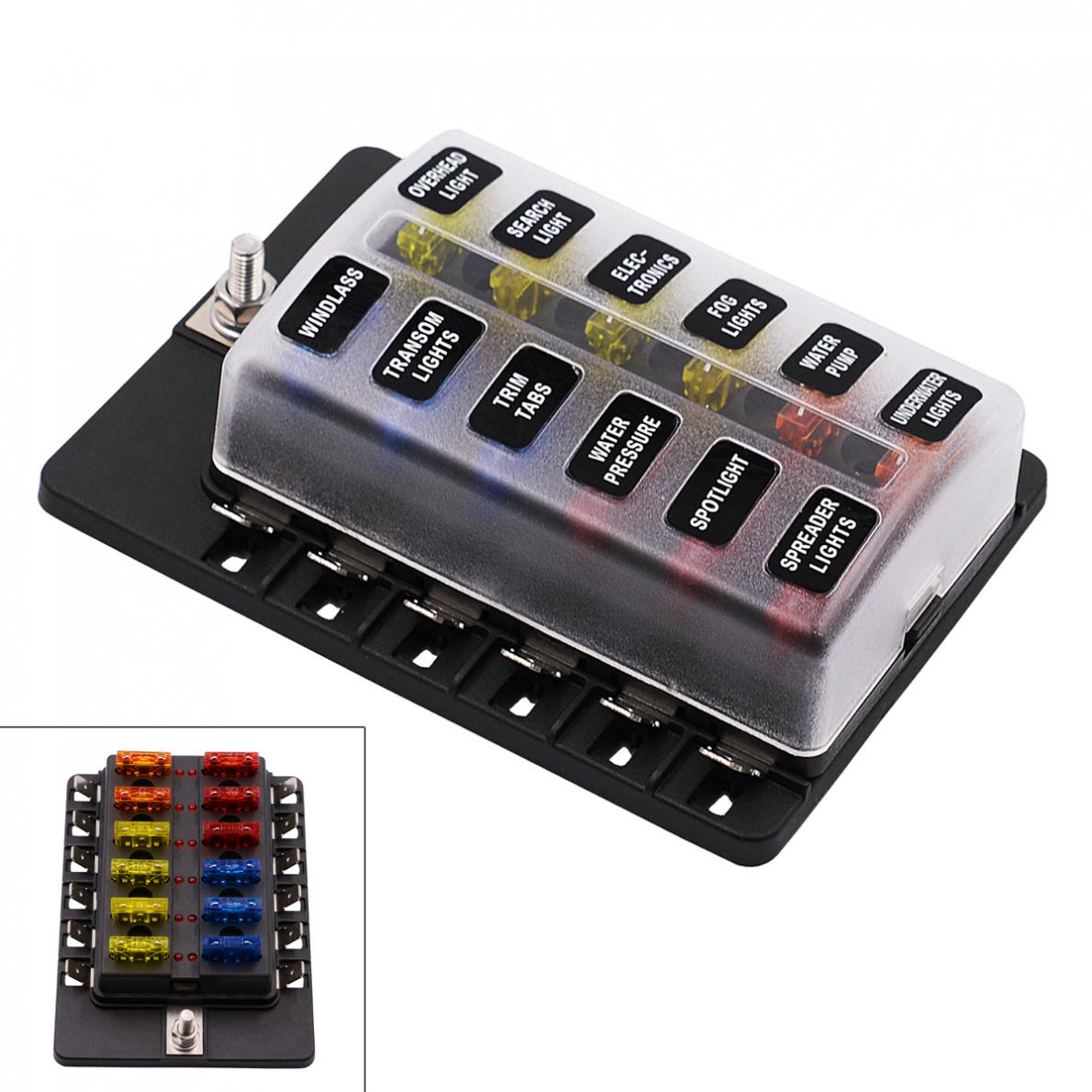 12 maneira 12 v 24 v Lâmina Fuse Box Titular com LED Kit Luz de Advertência  para Car Boat Marine Trike