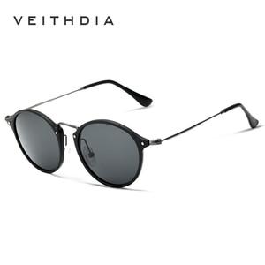 Image 4 - VEITHDIA Brand Designer Sunglasses Fashion Sun Glasses Polarized Coating Mirror UV400 Lens Round Male Eyewear For Men/Women 6358