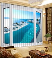 Window, Sea, Landscape 3D Photo Printing Blackout Curtains For Living Room Bedding Hotel Drapes Cortinas 3D Curtain Blackout