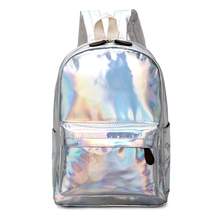цены Women Holographic Laser Backpack FemaleSchool Travel Shoulder Rucksack Bag Girl Bags