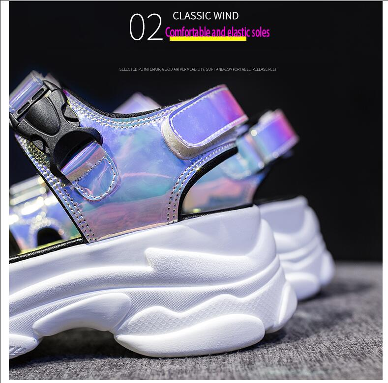 HTB1g66valWD3KVjSZFsq6AqkpXad Women Sandals 2019 New Summer Sandals Ladies Casual Shoes Women Bling Wedges Buckle Strap Platform Shoes 5 CM Sandalias Mujer