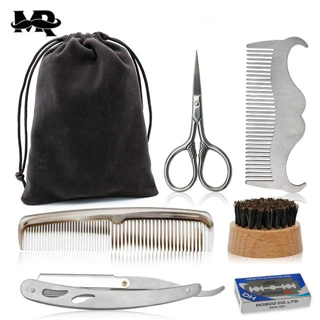 BellyLady Beard Suit Beard Comb Stainless Steel Template Tool Beard Styling Comb Beard Care Cleaning Kit