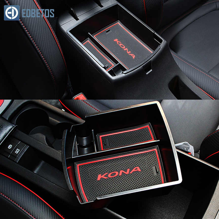 EDBETOS Kona Box Bracciolo Di Archiviazione Per Hyundai Kona Encino 2018 2019 Kona Center Console Contenitore Bin Vassoio