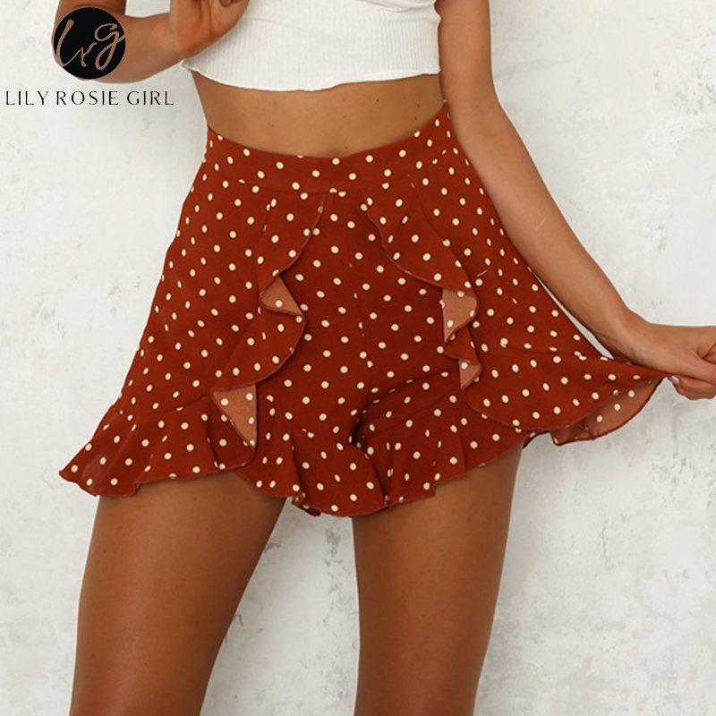 Lily Rosie Girl 2018 Red polka dot summer   shorts   Women ruffle girl   shorts   Casual high waist   Shorts   beach