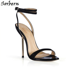 Sorbern Black Shiny Runway 2018 Shoes Gold Strappy Heels Slip On Shoes For Women Slingback Sandals Holiday Shoes Sandals Summer цены онлайн
