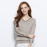 Female Long Sleeve V Neck Sweater Women Fashion Outwear Pullover Knitted Cashmere Sweater High Quality New
