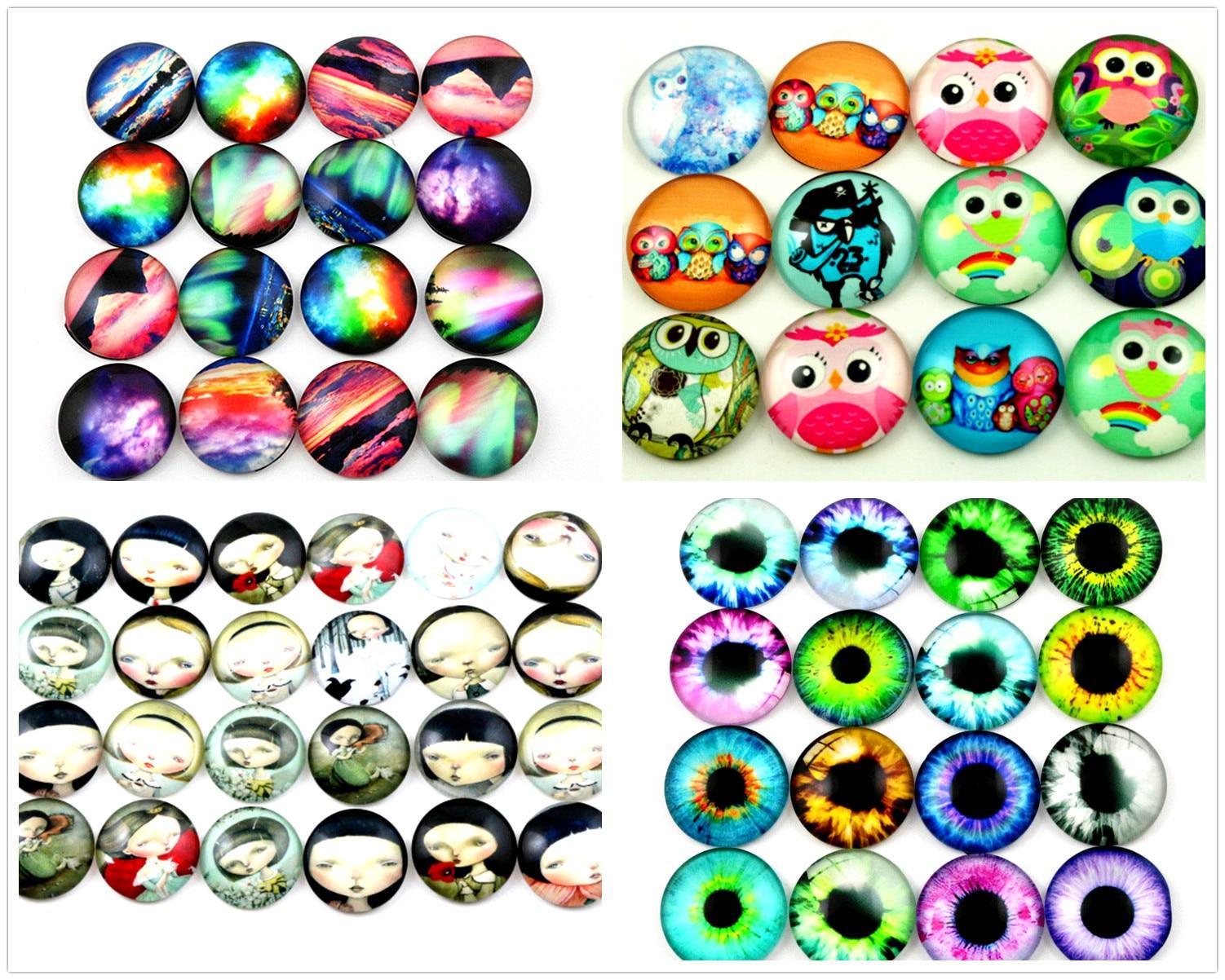 New Fashion 10pcs 20mm 5 Style Nebula, Owl, Anime Girl, Eyes Mixed Handmade Photo Glass Cabochons