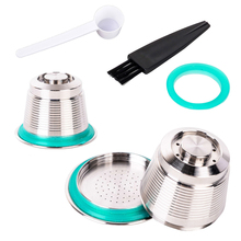 Coffee Capsule Refillable Reusable Pod Machine for Nestle Stainless Steel Silicone Ring Brush Spoon