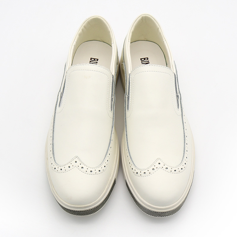 pigro Bimuduiyu uomo bianche alta marca scarpe traspirante Top Richelieu stile casual bianco Fashion pelle in di New nero qualità pAaq1xwpr
