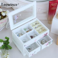 Leewince Custom Jewelry Makeup Organizer E0 E1 MDF Wooden Storage Box Beautiful Design Box Jewelry For