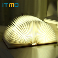 ITimo LED Book Shaped Night Light Holiday Birthday Gift Novelty Lighting Foldable Pages Table Lamp USB