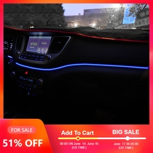 Instrument Panel Trim Atmosphere Light For Hyundai Tucson 2015 2016 Interior LED Blue Dashboard Frame Light For Tucson 2017 2018