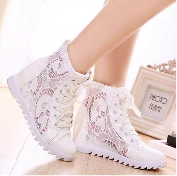 New arrive women summer sandals breathable lace wedge sneakers white  platform walking shoes free shipping