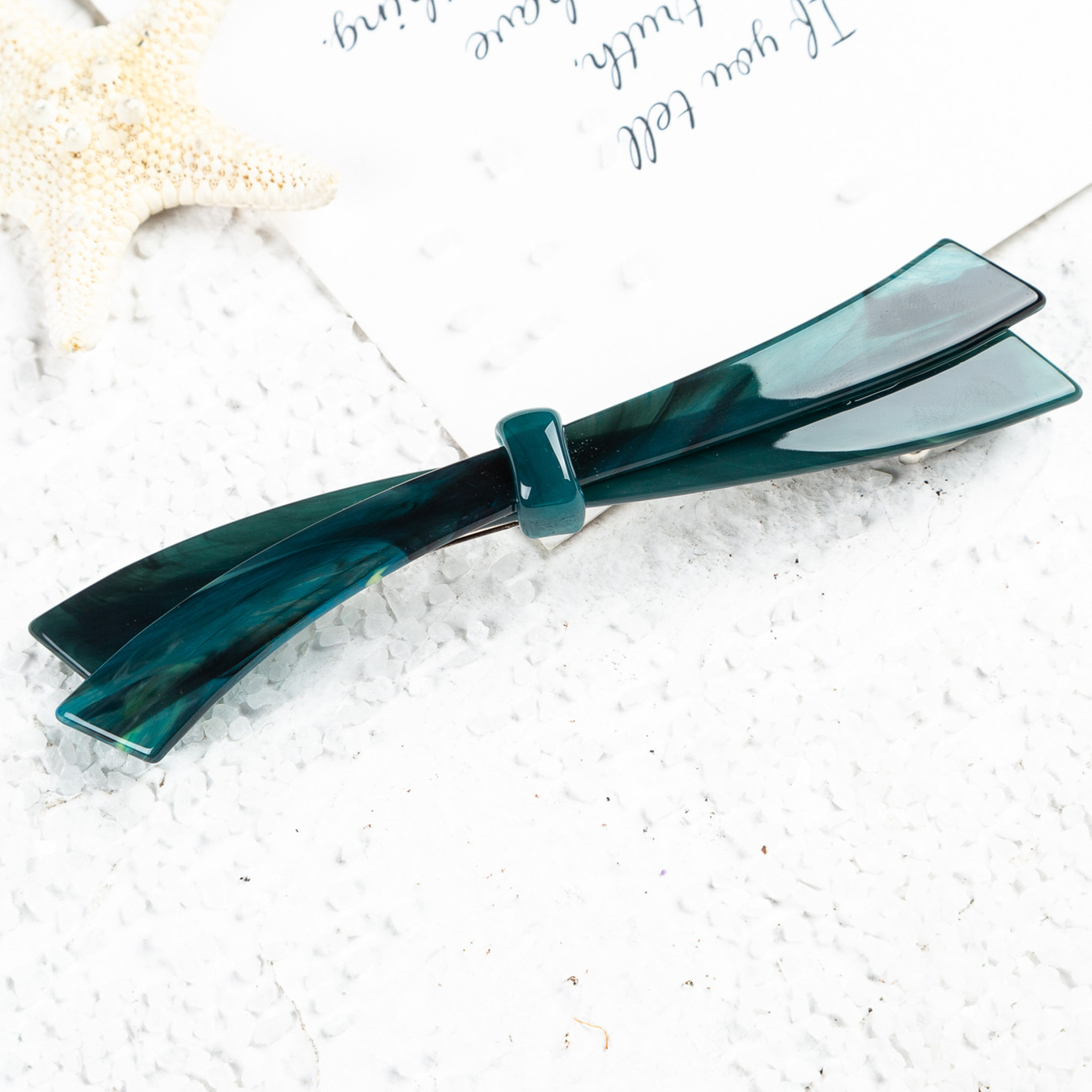 Fancyin Long & Skinny Barrettes For Everyday Headwear Hair Accessories For Women,Emerald Bowknot French Design