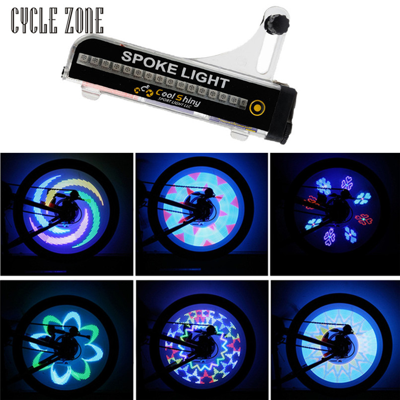Outdoor Dynamic 2017 32 LED Motorcycle Cycling Bicycle Bike Wheel Signal Tire Spoke Light 21 Changes Mar13