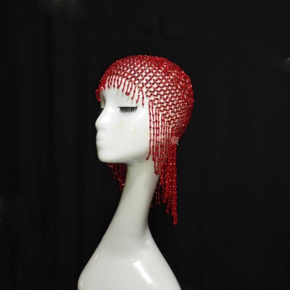 شريط ملهى ليلي ليلة المغني DJ DS مطرز الماس ازياء الحديثة غطاء الرأس شرابة قبعة 4 ألوان DL1016