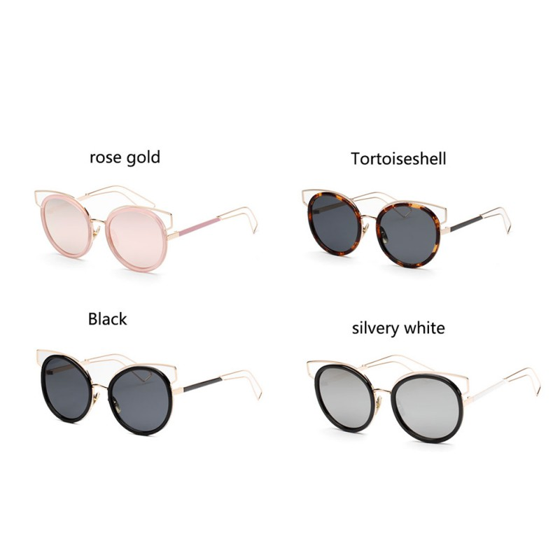 Mirror Flat Lense Classic Brand Designer Women Cat Eye Sunglasses Twin-Beams Rose Gold Hot Sale Frame Sun Glasses