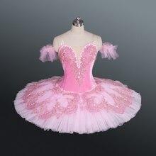 Профессиональный классический балет Щелкунчик пачка розовый цвет бархат тела с кружева украшение девушки КНТР костюмы Спящая красавица
