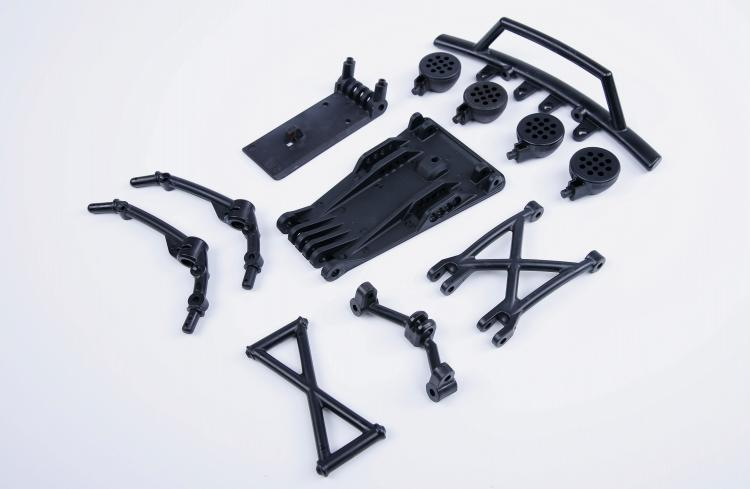 Plastic 5B upgrade to 5T Front Bumper kits for 1/5 hpi rovan km baja 5t rc car parts 1 5 rc car cnc metal front shock absorber set for 1 5 scale rovan hpi losi 5t parts