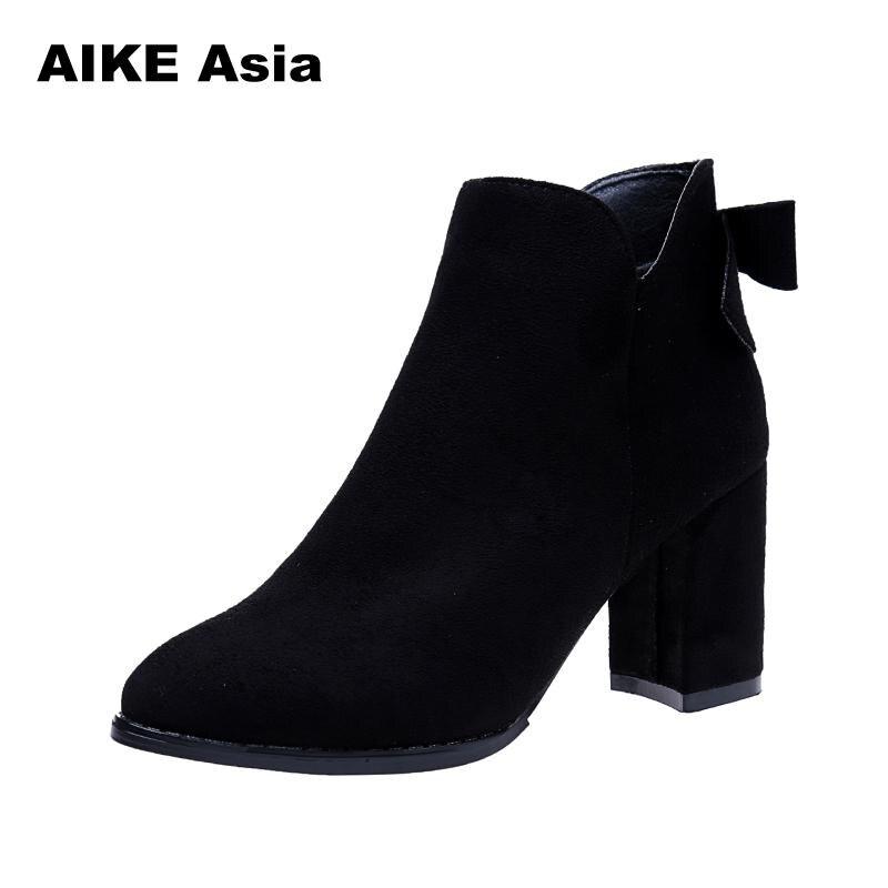 Botas Bottes Mujer Chaussures Et Zapatos Vintage Hiver Talon Cheville Cuir Mode Black Latérale Glissière Femmes Épais En Automne Femelle De brown Catwq