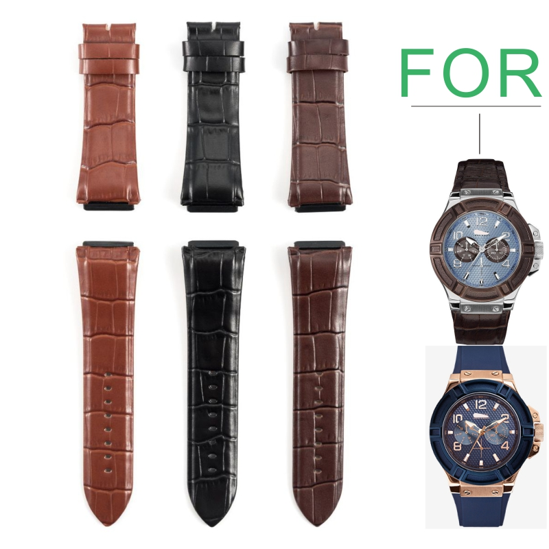 Applicable To GC Watch Strap Leather Cowhide High Quality Men's Watch Strap W0040G1W0040G2 W0040G3W0040G4W0040G5W0247G3For GUESS