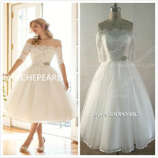 Boat neck tea length short wedding dresses ivory off the for Lace mid length wedding dresses