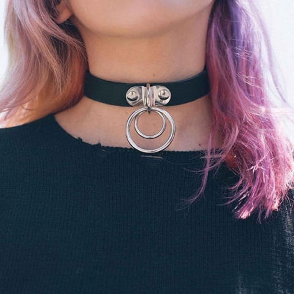 Lady Girl Punk Gothic Dual Snap Button Faux Leather Choker Short Necklace