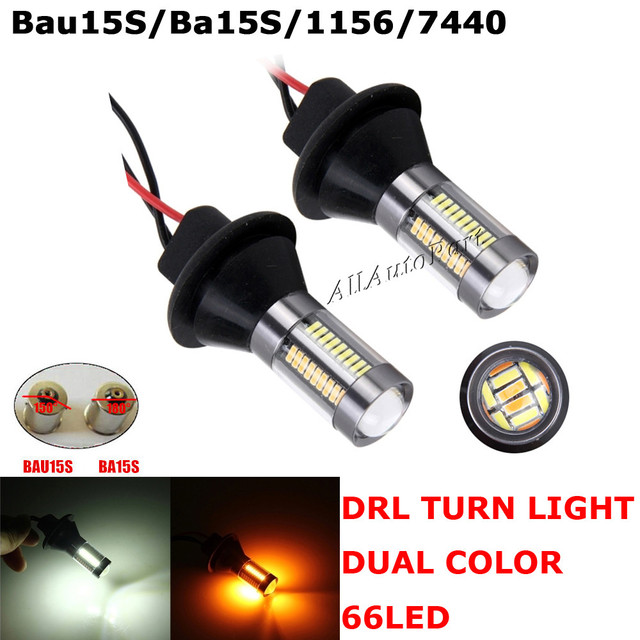 Nouvelle T20 1156 7440 Ba15s BAU15S 66SMD Voiture LED DRL Lumière double Couleur Switchback Clignotants Lampe Ampoule Daytime Running Light Canbus