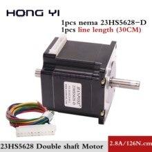 NEMA 23 шаговый двигатель двойной вал 2.8A 12.6N.m Двойной Вал D = 8 мм 57x56 мм Nema23 шаговый двигатель для ЧПУ