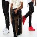 Designer de moda mens skinny jeans angustiados rasgado preto e branco na altura do joelho zipper calças destruído denim dos homens kanye west