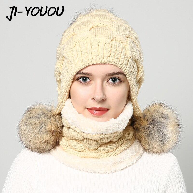 Femmes chapeaux d'hiver de chapeau de fourrure pompon beanie de mode fourrure de raton laveur boule tricoté chapeau Épais chapeau avec oreillettes cap écharpe earflap
