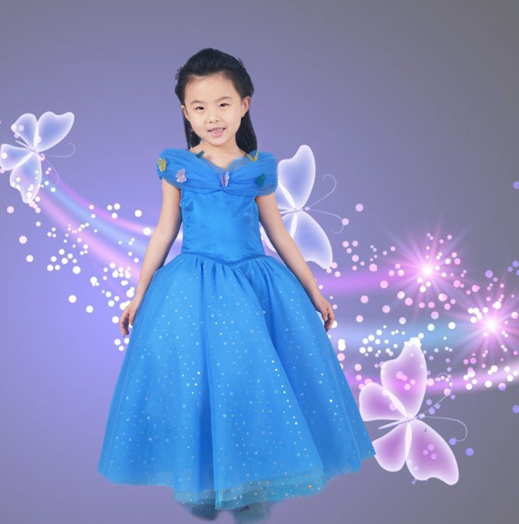 Kids Clothes Rushed Retail 2017 New Cinderella Girl Party Dresses Movie Kids Princess Dress With Butterfly Children Summer Wear 2016 new girls dresses cotton summer cinderella mopping dovetail princess dress kids clothes party lovely children 2 10y t0084