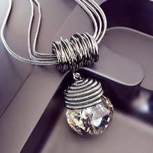 2015 New Arrival Women Pendant Necklaces The Big Drop Long Paragraph Sweater Chain All-match Decorative Crystal Necklace Pendant