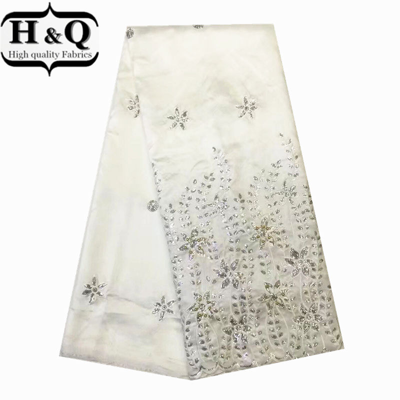 African George Lace fabric in White Hot Sale african guipure lace fabric embroidery with beads&sequins For party dressAfrican George Lace fabric in White Hot Sale african guipure lace fabric embroidery with beads&sequins For party dress