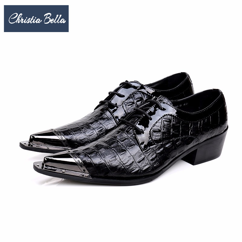 Christia Bella Genuine Leather Men Oxford Shoes Classic Pointed Toe Brogue Shoes Black Wedding Business Men Dress Shoes Lace Up 2017 new oxford for men dress genuine leather black red office zapatos lace up pointed toe the trend of black leather shoes